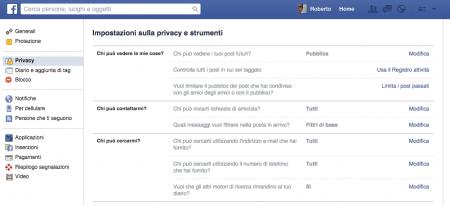 Privacy Facebook Impostazioni