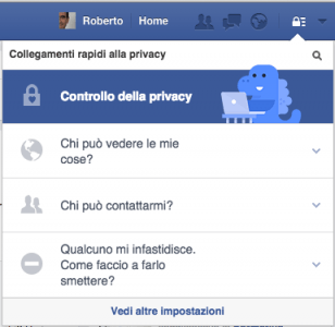 Privacy Facebook collegamenti rapidi