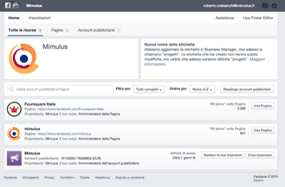 Facebook Business Dashboard - Mimulus