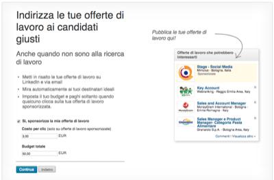 Offerta Lavoro Linkedin Sponsorizzazione - Mimulus