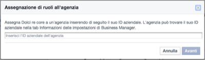 Facebook Business Invito Agenzia - Mimulus